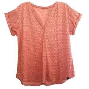 L.L. Bean Slit Neck Tee Shirt Top XL Rose